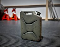 Click image for larger version.  Name:3D printed jerry can painted and weathered.jpg Views:32 Size:155.3 KB ID:39082